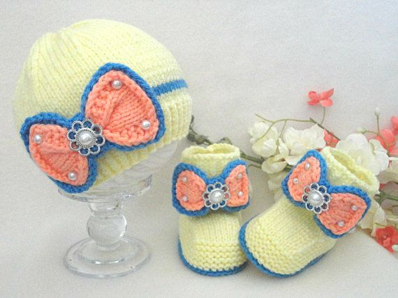Knitting Pattern Baby Girl Outfit Baby Booties Knitted Baby Hat Baby