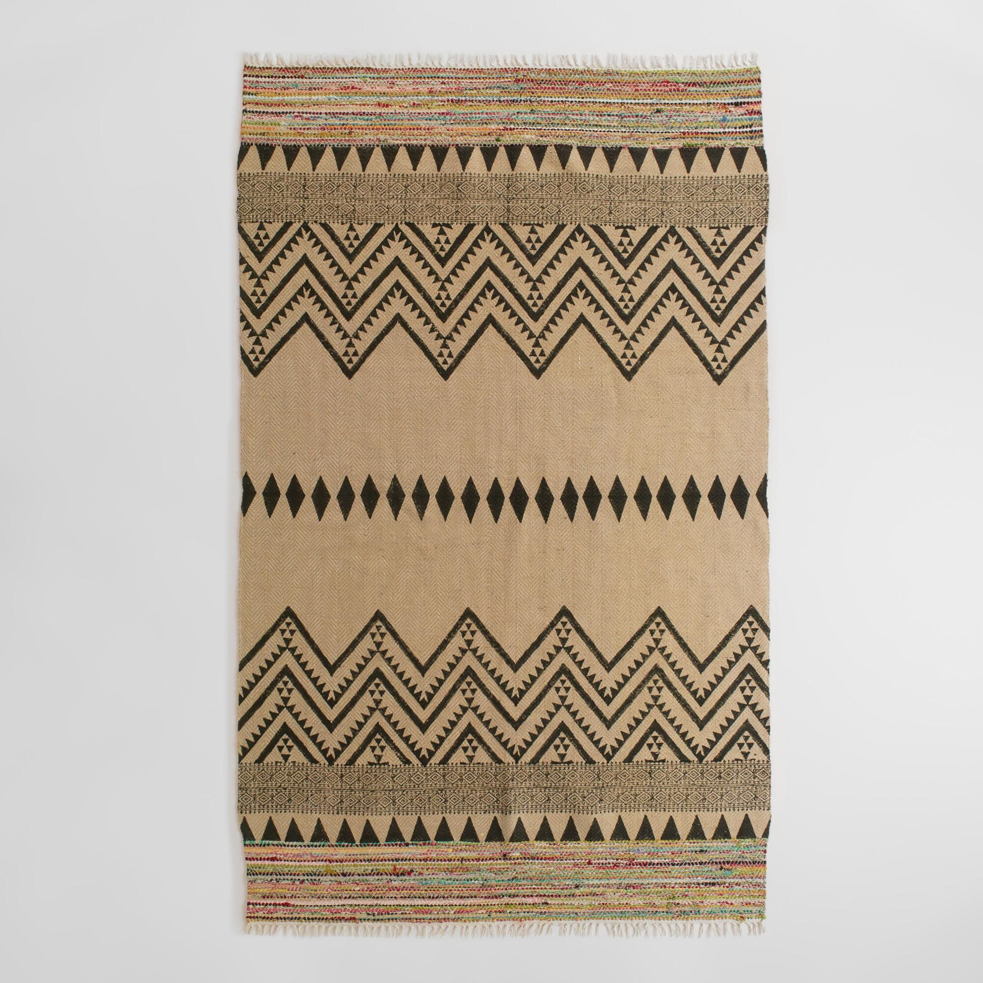 Hand Woven In India Our Exclusive Area Rug Features A Screen Printed Black And