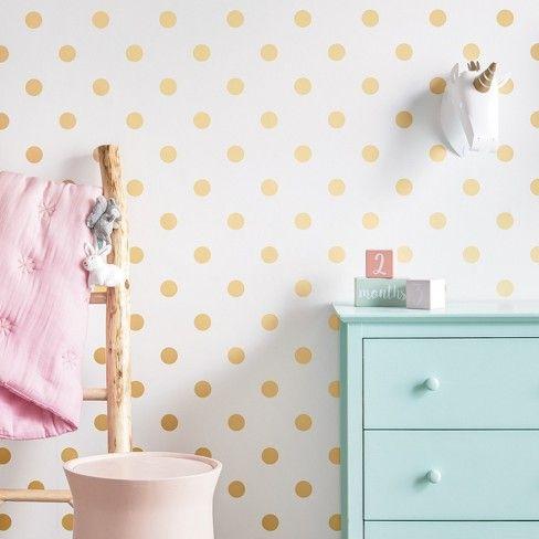 Peel & Stick Wallpaper Metallic Polka Dot Gold Cloud