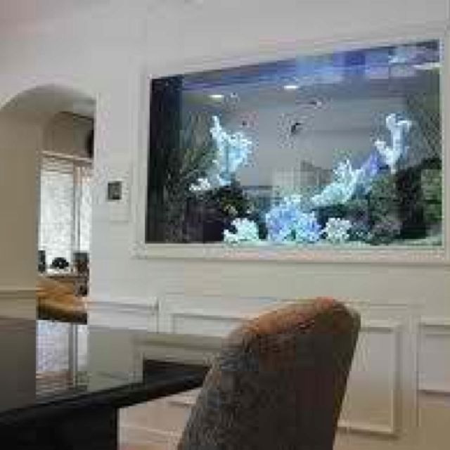 Cute Fish Tank Dividing The Living Room And Dining Room.