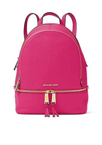f35ff541c539 Michael Kors Rhea Zip Medium Leather Backpack (Ultra Pink) | Luxury ...