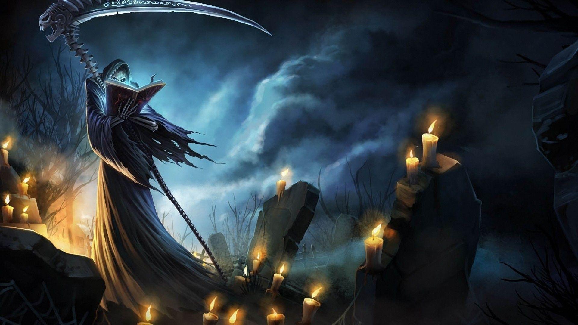 1920x1080 grim reaper in the cemetery fantasy hd desktop wallpaper