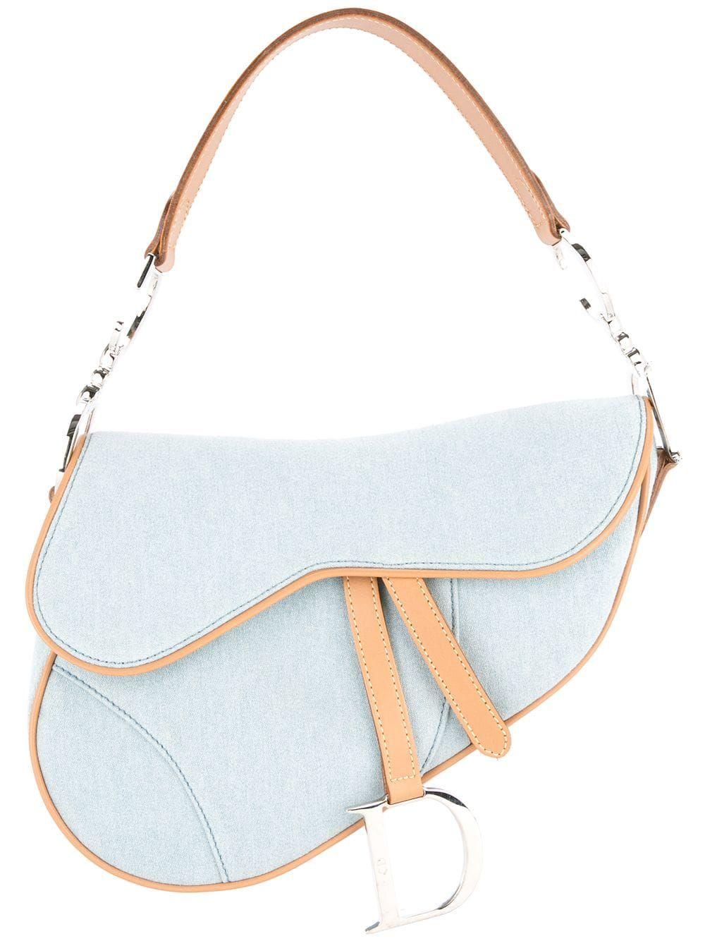 Christian Dior Pre Owned Denim Saddle Bag Farfetch Dior Saddle Bag Bags Dior