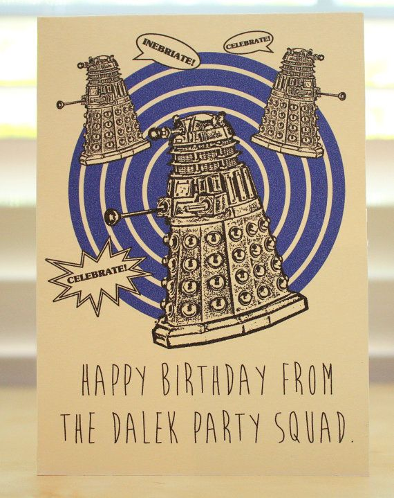 Doctor Who Birthday card Dalek Tardis Dr Who geeky party – Happy Birthday Card for Doctor