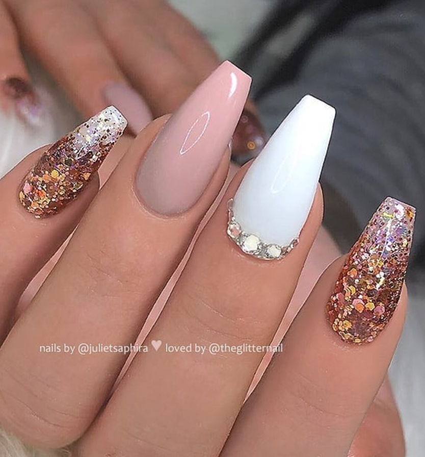50 Pretty French Pink Ombre And Glitter On Long Acrylic Coffin Nails Design Page 44 Of 53 Latest Fashion Trends For Woman Mauve Nails Coffin Nails Designs Pink Glitter Nails