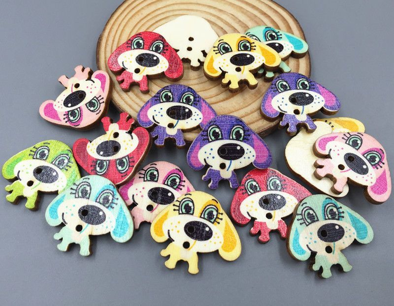 Wooden Cartoon Mixed color dog Buttons Sewing decoration Craft scrapbooking 30mm