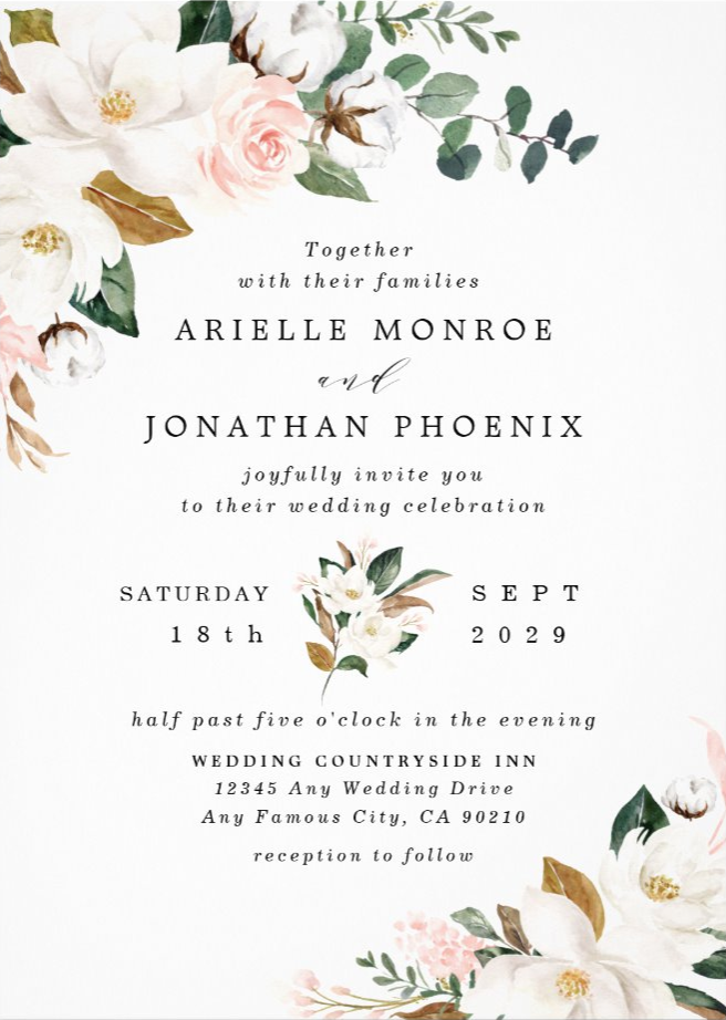 Blush Pink Gold And White Magnolia Floral Wedding Invitation Zazzle Com In 2020 Floral Wedding Invitations Floral Wedding Magnolia Wedding