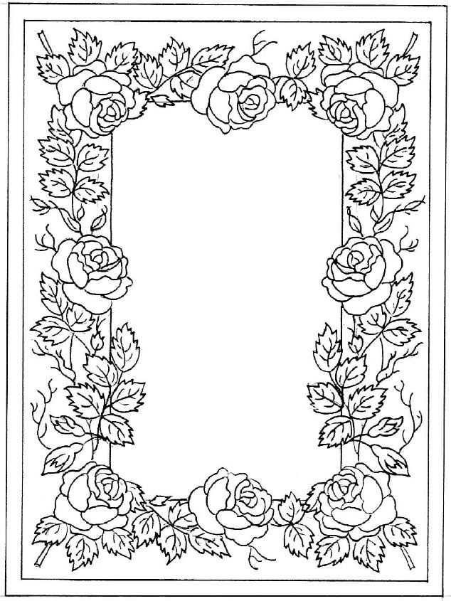 T T Rose Border Embroidery Patterns Coloring Pages
