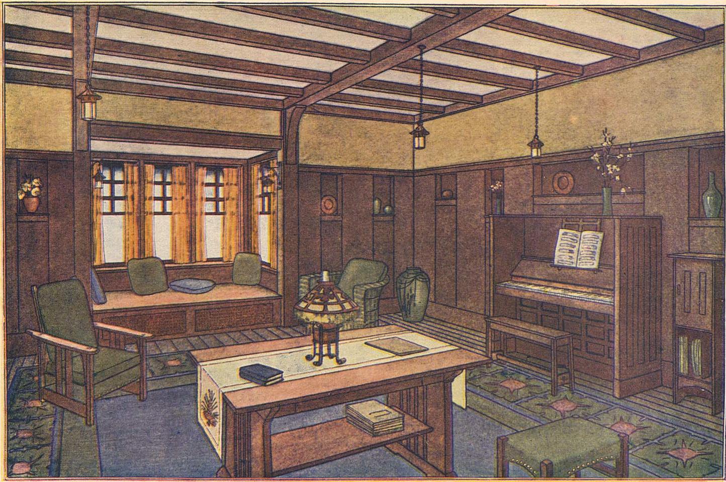 laurelhurst 1912 craftsman: period living rooms | 1908 house
