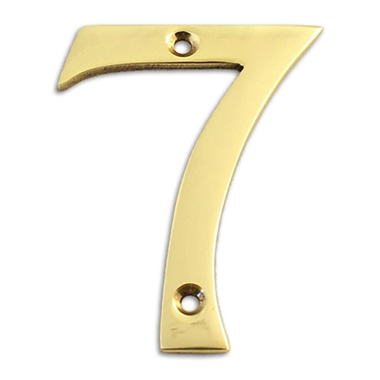 Modern polished brass 3 inch solid brass house number
