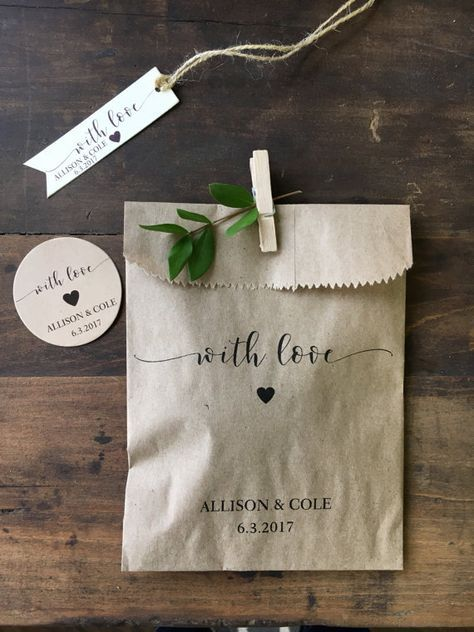 Wedding Cookie Bags, Candy Buffet Sacks, Custom Wedding Favors, 25 Cake Bags, Recycled Brown Paper Personalized Printed Sacks With love, simple, elegant & made for you--Will be personalized with your names & wedding date. Use these versatile little favor bags in so many ways to celebrate your big day... {Candy or cookie buffets} {Fill with rice, confetti or birdseed} {Snack buffets during receptions& parties} {Fill and seal for take home favors like sealed packs of coffee beans, photos of g...