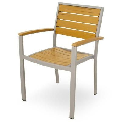 Ivy Terrace Basics Textured Silver All-Weather Aluminum/Plastic Outdoor Dining Arm Chair in Plastique Slats