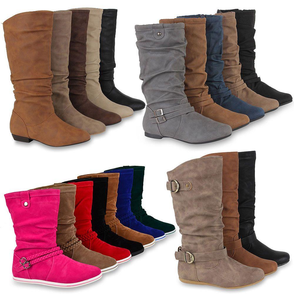 best sneakers 88462 826f1 Flache Damen Stiefel Stiefeletten 99292 Winter Boots Gr. 36 ...