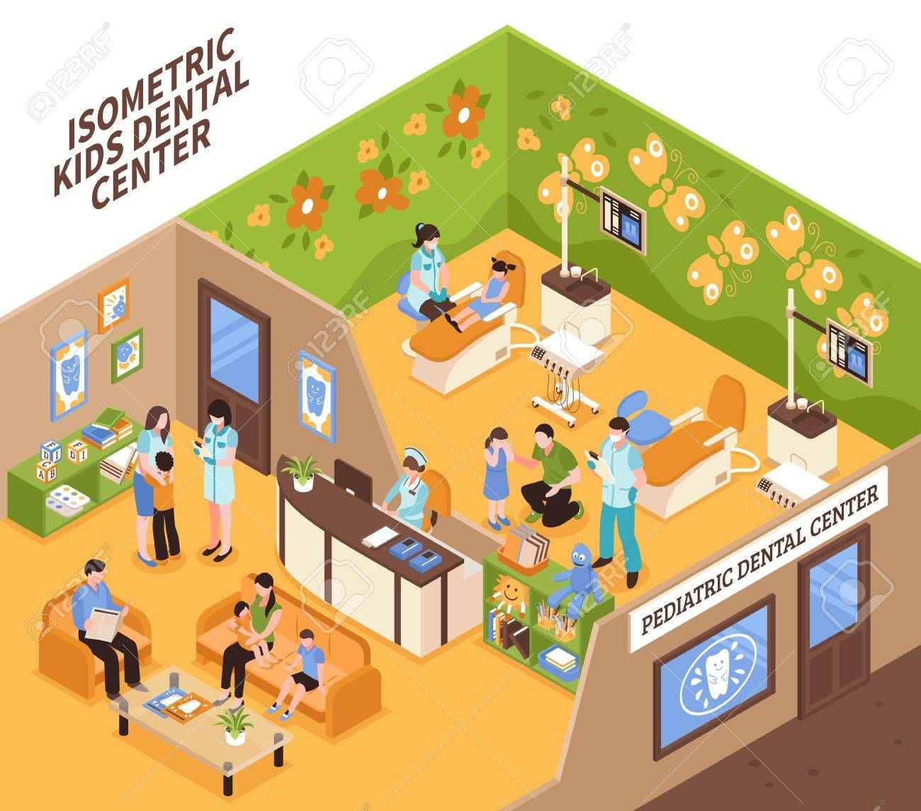 Pediatric dentist isometric vector illustration with children and their parents in kids dental center , #sponsored, #vector, #illustration, #isometric, #Pediatric, #dentist