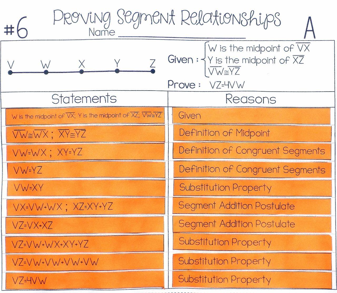 Segment Relationships Proof Activity