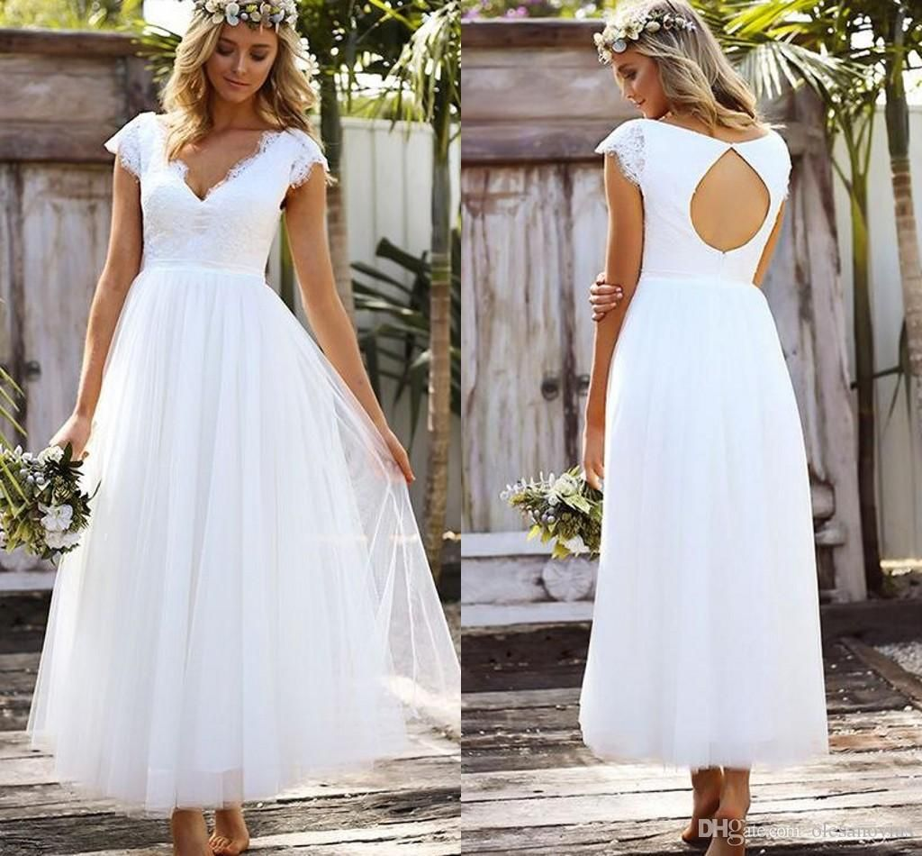summer beach wedding dresses aline vneck cap sleeve open back