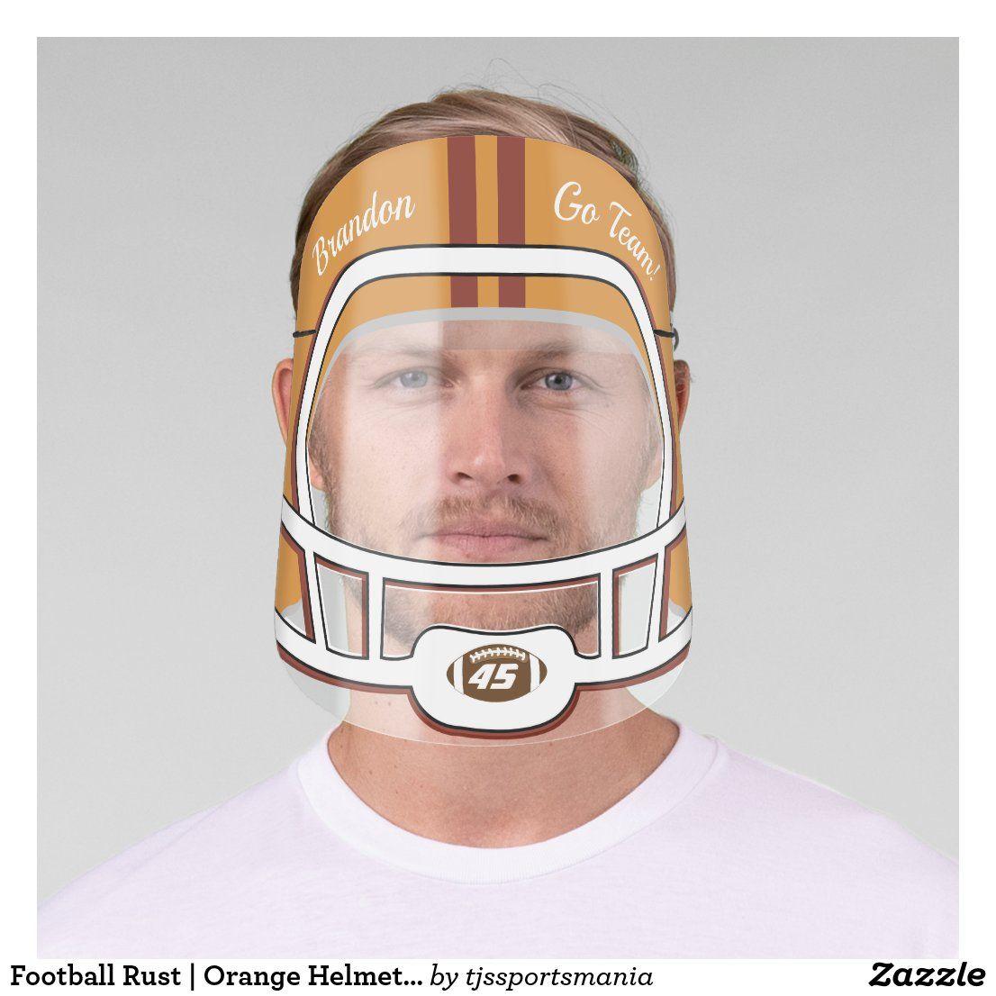 Football rust orange helmet name team number face shield
