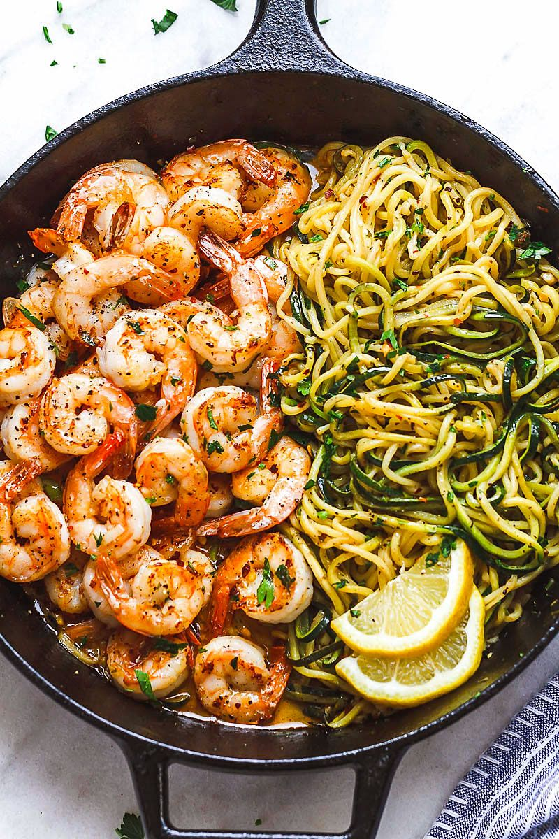 Lemon Garlic Butter Shrimp with Zucchini Noodles (10-Minute )