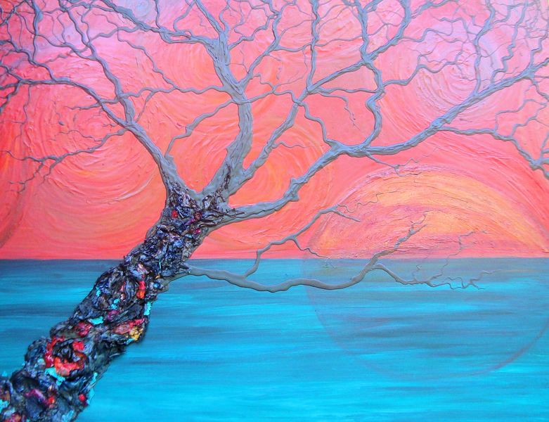 TREE of LIFE by SENA TIDWELL 12x16 RED BACKGROUND Multi-Color ACRYLIC Original