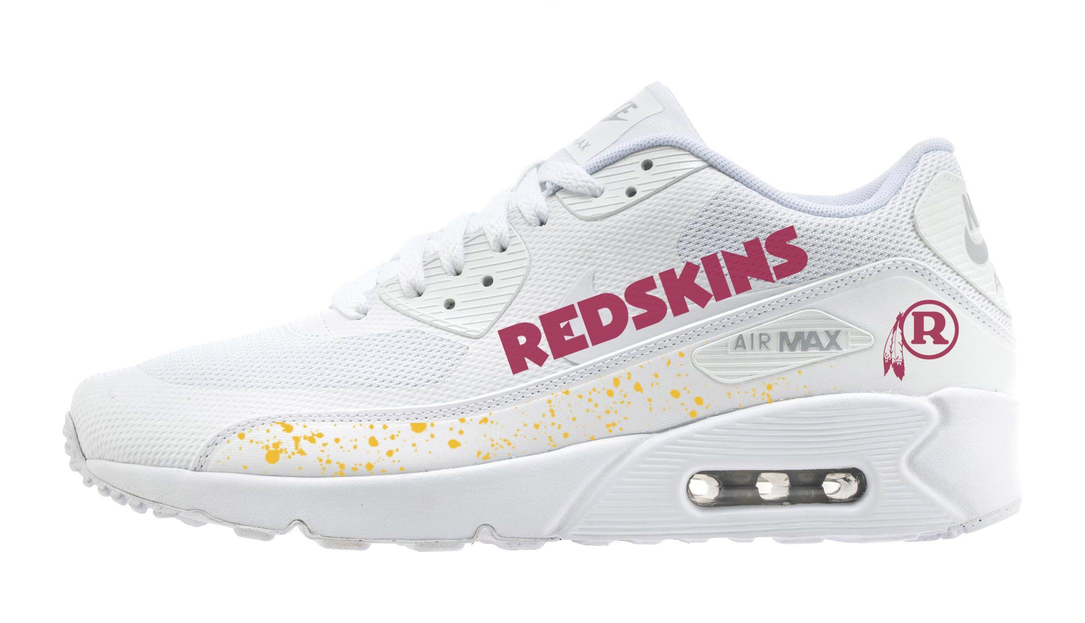 newest collection 729ac 932be Customized Washington Redskins Nike Sneakers, Men s, White Nike Sneakers, Air  Max Sneakers,