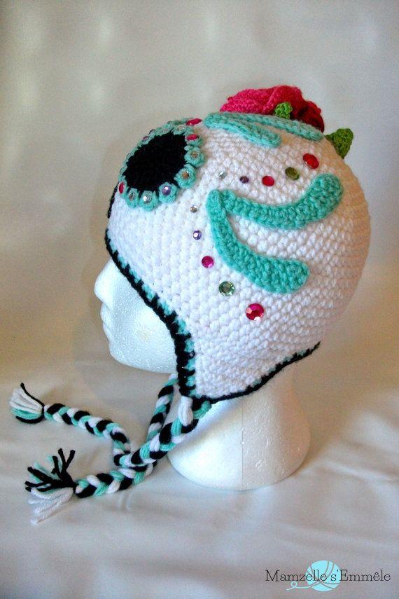 Custom Stw Ready To Ship Unique Sugar Skull Crochet Hat Dia De
