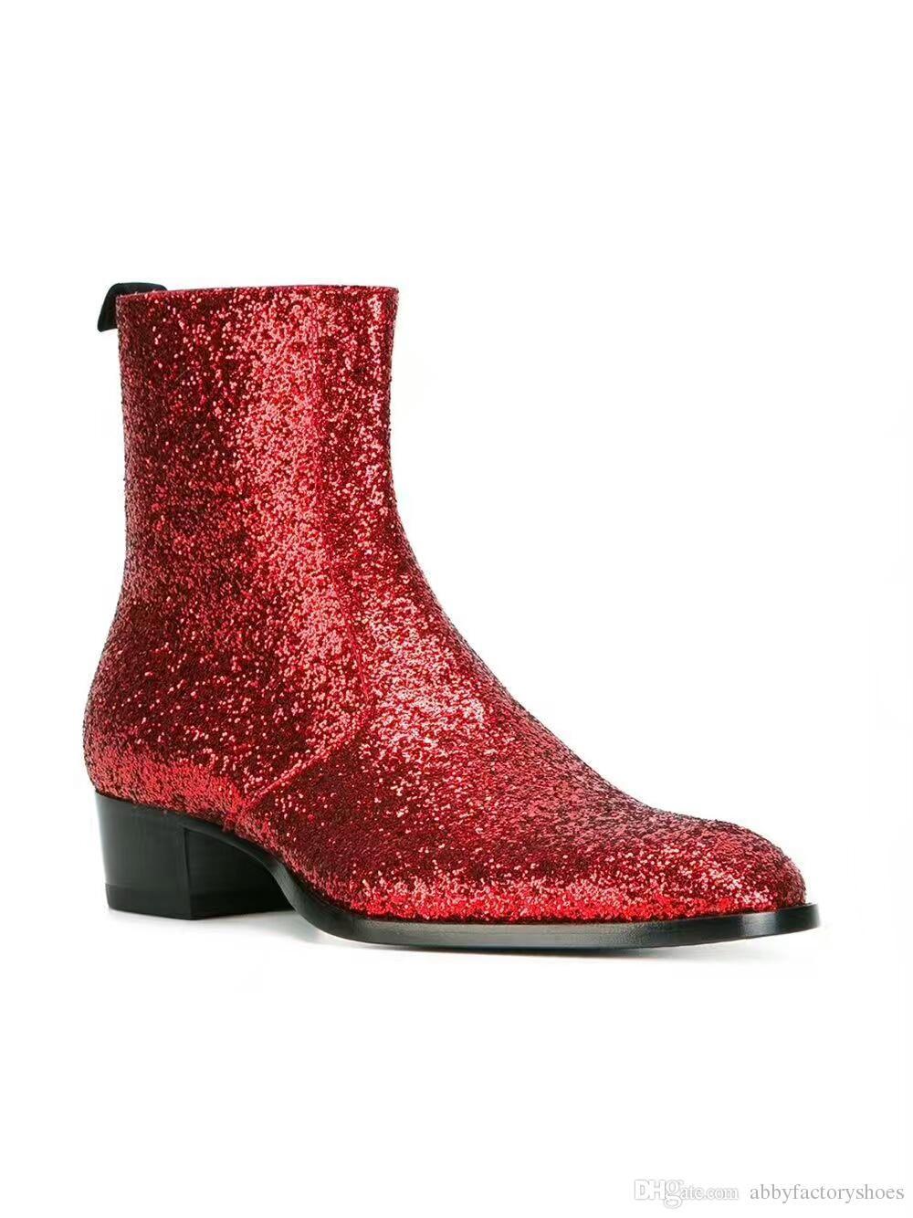2017 Chelsea boots men Glitter Sequin