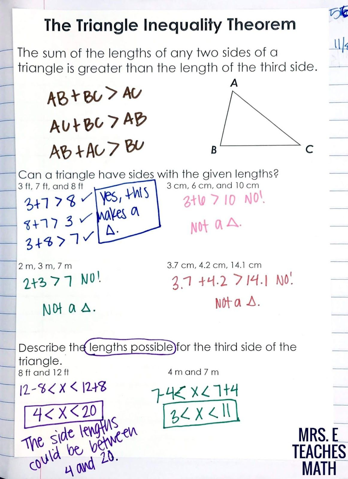 Relationships In Triangles Inb Pages Triangle Inequality Math Math Interactive Notebook