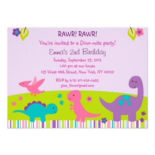 Pink dinosaur 1st birthday card girl dinosaur birthday dinosaur girl dinosaur birthday invitations filmwisefo