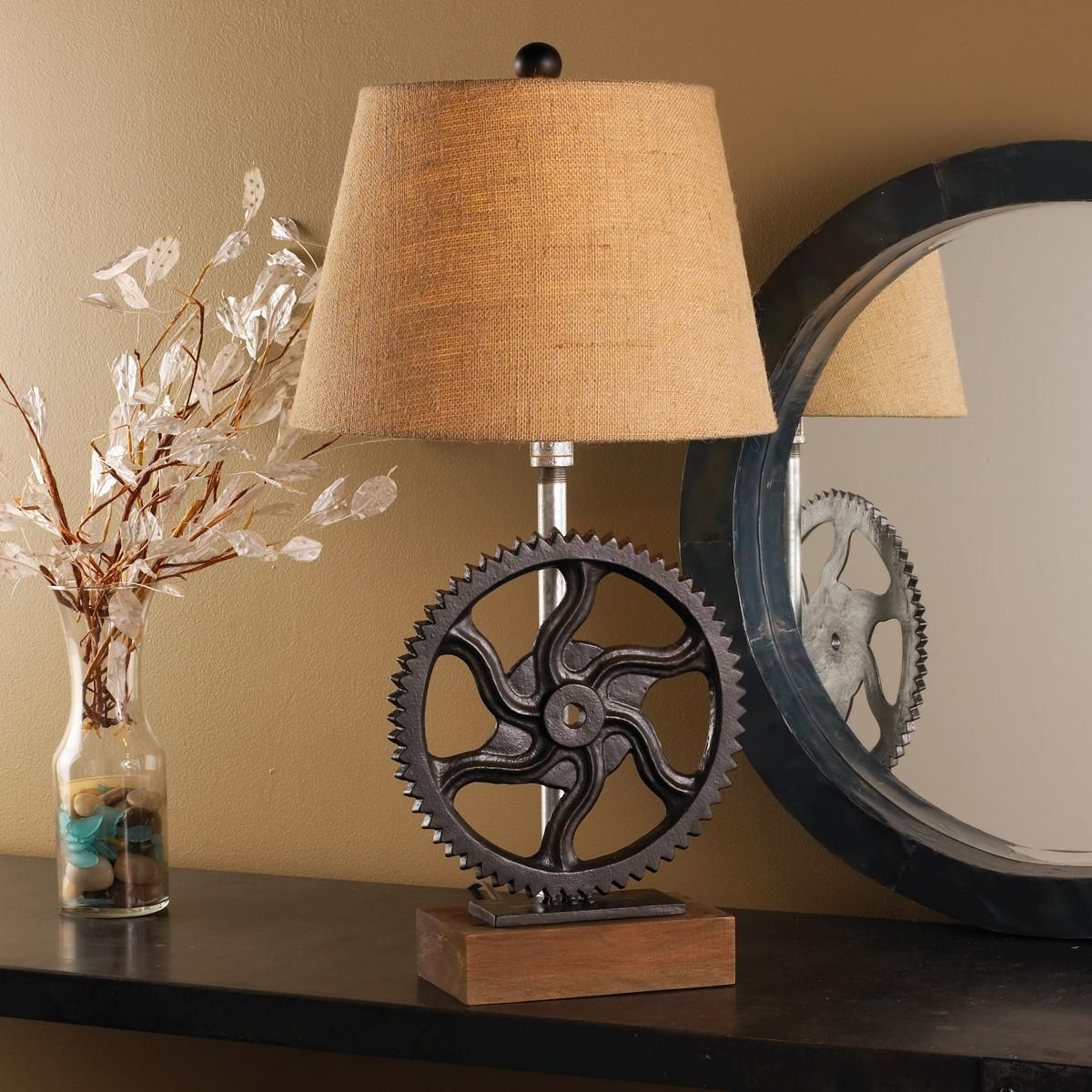 Cast iron gear table lamp great industrial look on reclaimed cast iron gear table lamp great industrial look on reclaimed wood base with burlap shade arubaitofo Image collections