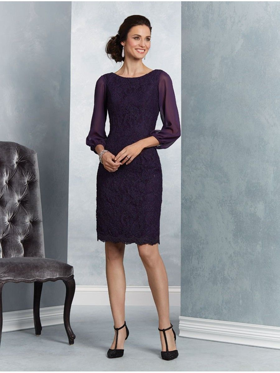 Elegant Purple Long Sleeves Short Lace Mother of The Bride Dresses ...