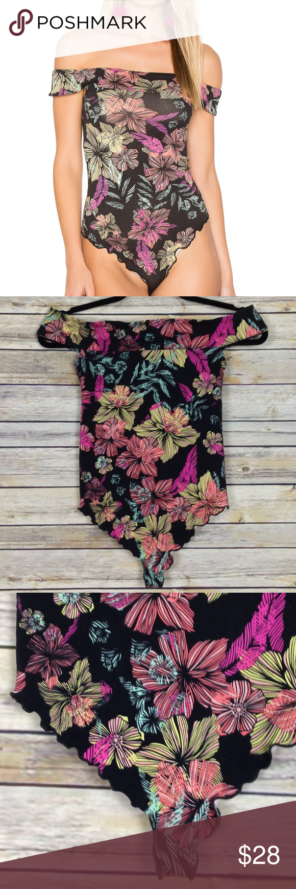 9b247e6d95d NEW Free People Off the Shoulder Printed Bodysuit Brand new with tags Free  People off-shoulder floral printed bodysuit in black, pink, blue, and  yellow.