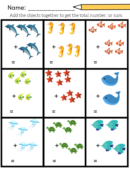 Ocean Themed Addition Like My Previous Ocean Worksheet Pack Included In My Picture Mat Preschool Math Worksheets Kindergarten Math Worksheets Math Worksheets