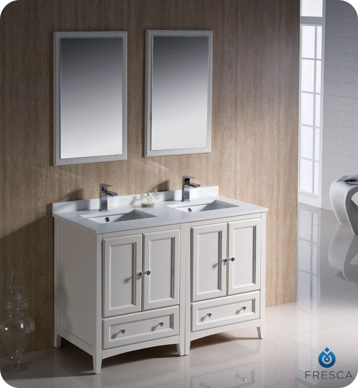 Oxford 48 Inch W 3 Drawer 4 Door Vanity In Off White With Quartz Top In White Double B Traditional Bathroom Traditional Bathroom Vanity Double Vanity Bathroom