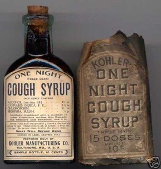 One Night Cough Syrup Manufactured In 1888 Contained Alcohol