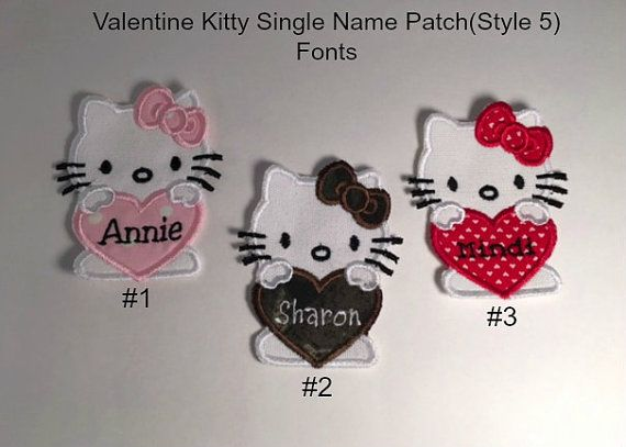 Personalized Single Name Patch (Style 5) - IRON ON Embroidered Patch,  Valentine Kitty