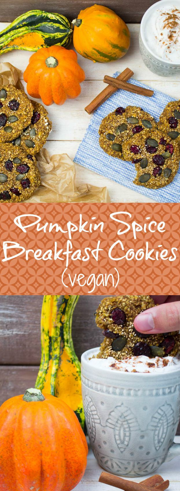 These pumpkin spice breakfast cookies with cranberries are not only super delicious but also packed with essential nutrients. #vegan #cookies #pumpkin #pumpkinspice @veganheavenorg