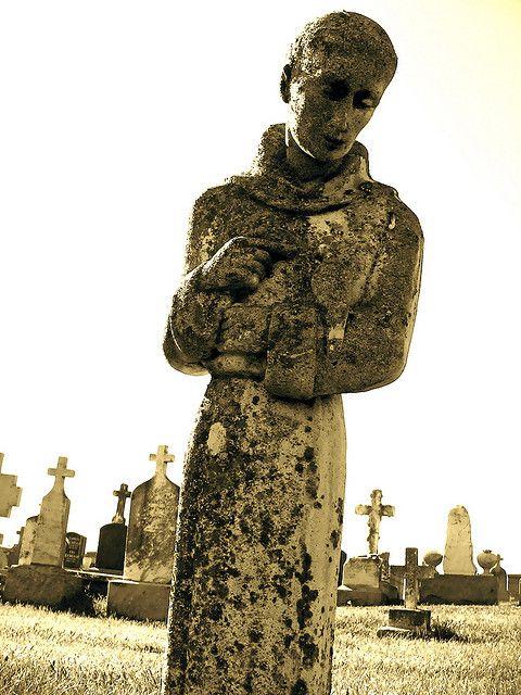 italian cemetery statue   Cemetery statue of a Catholic monk at the Italian Cemetery in Colma ...