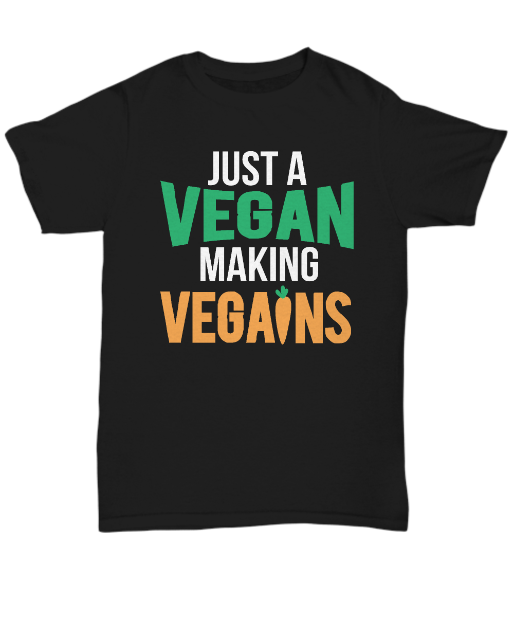 "This funny ""Just A Vegan Making Vegains"" design is perfect for vegans or anyone who loves veggies and funny puns!"