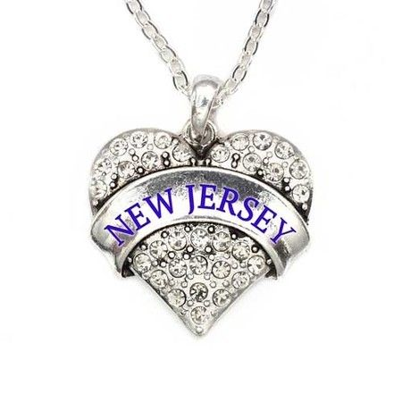 New Jersey Pave Heart Charm Necklace