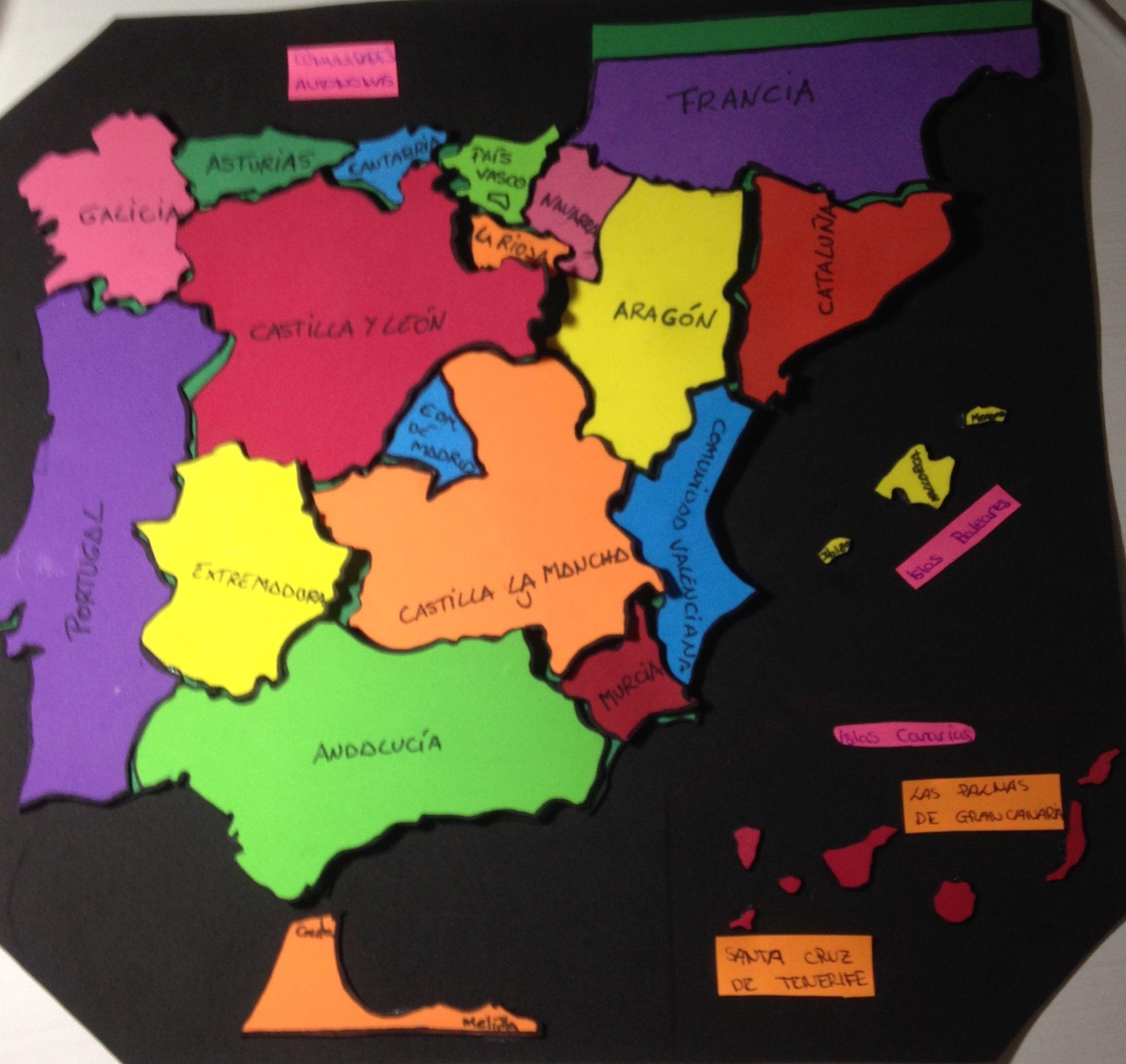 Mapa Interactivo Comunidades Autónomas En Goma Eva Mapa Fisico De España Mapa Fisico De Europa Ciencias Sociales