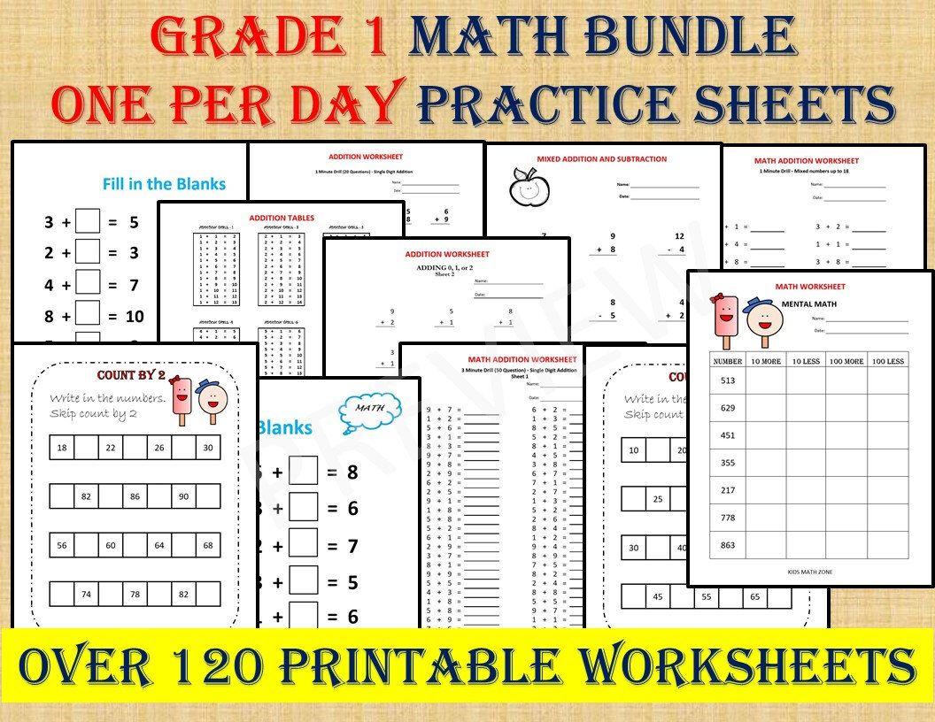Grade 1 Math Workbook One Per Day Over 120 Math
