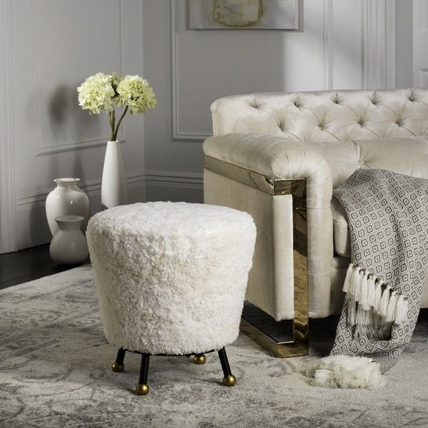 Lovely Vintage Living Room Ideas With Glamour Furniture: Petite Safavieh Oriana Glam Shaggy Beige Ottoman