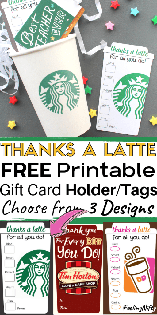 Thanks a Latte Free Printable for Starbucks, Dunkin Donuts and Tim Hortons #craftstosell