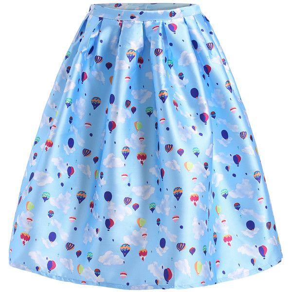 SheIn(sheinside) Sky Blue Balloon Print Flare Skirt (£7.14) ❤ liked on Polyvore featuring skirts, bottoms, blue, print skater skirt, knee length circle skirt, blue knee length skirt, blue skater skirt and skater skirt