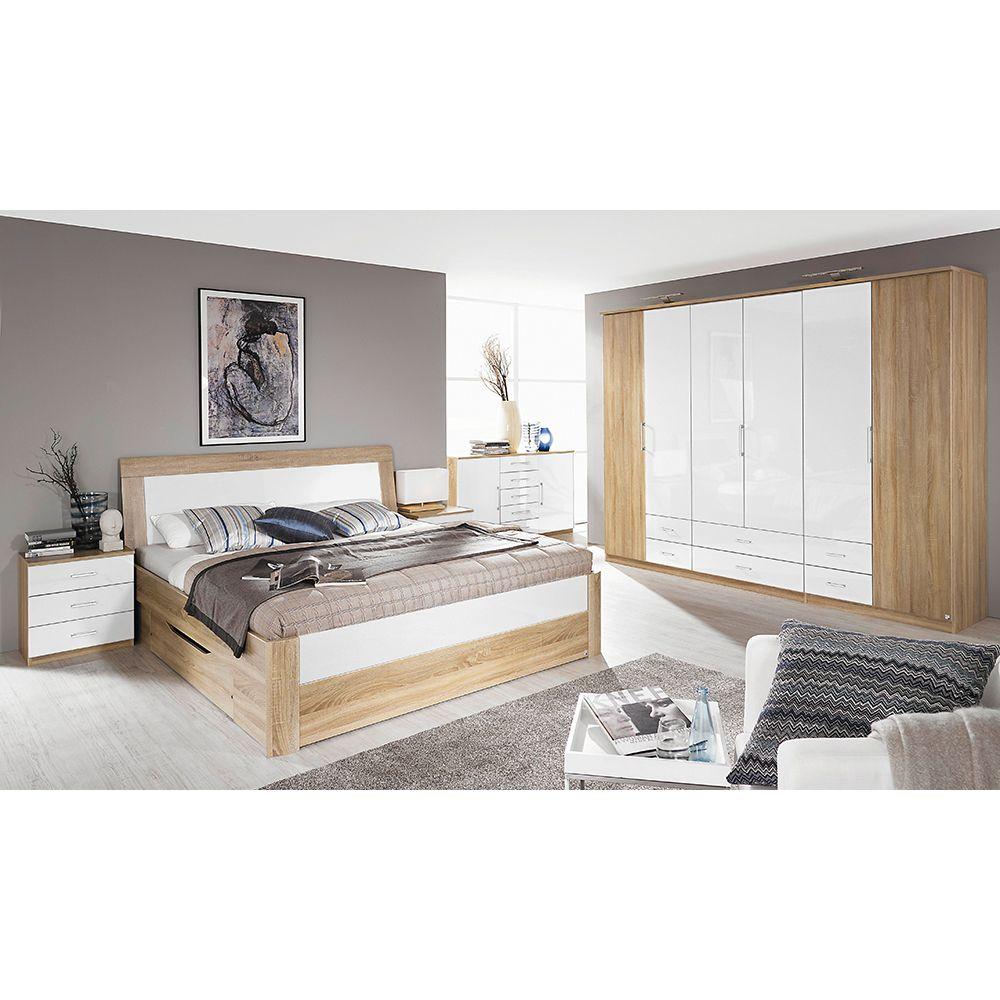 Schlafzimmer Set Arona 4tlg. 140x200 Eiche Sonoma Hochglanz weiß ...