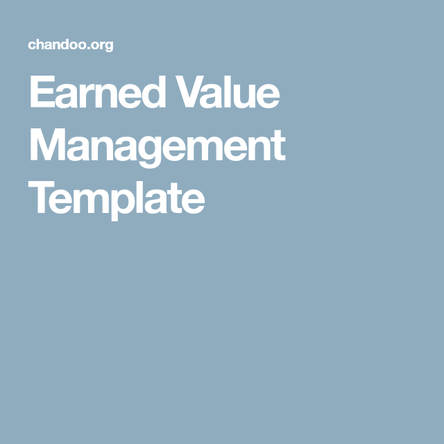 Earned Value Management Template  Project Mgmt