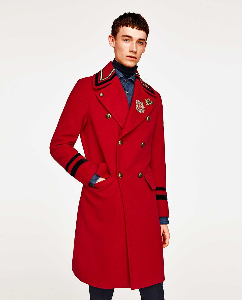 44f35c4d Image 2 of RED MILITARY COAT from Zara | men fashion in 2019 ...