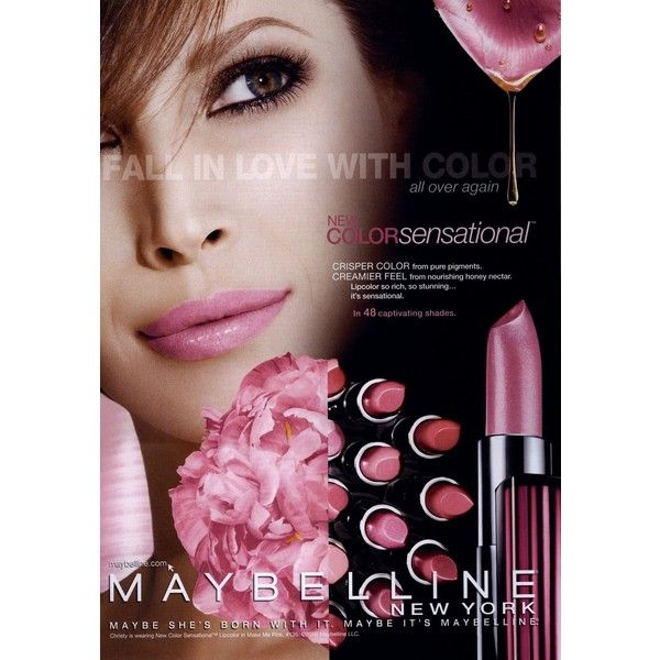 Maybelline Color Sensational 2009-2011 Shot #2 - MyFDB ❤ liked on Polyvore featuring ad campaign and christy turlington