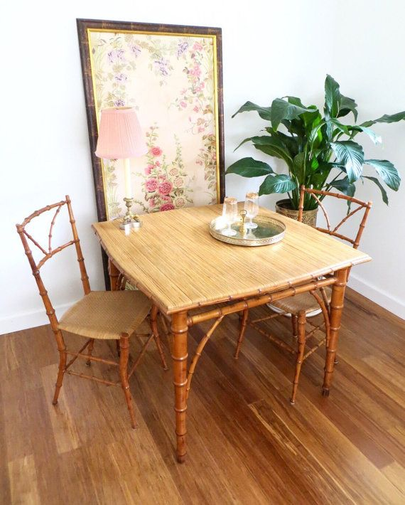 Bamboo Rattan Card Table And 2 Woven Chairs By Scoopsvintagemodern British Colonial Style Woven Chair Chair Set