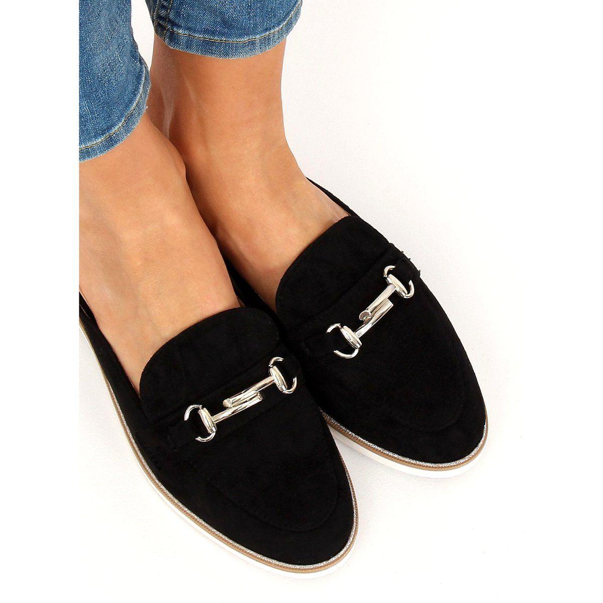 Klapki Mokasyny Czarne F9375 Black Black Loafers Womens Slippers Loafers